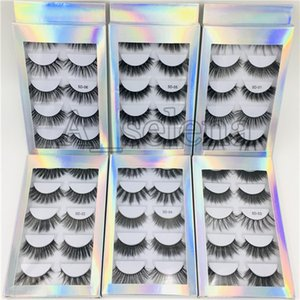 Wholesale 5 Pair Natural Thick synthetic Eye Lashes Makeup Handmade Fake Cross False Eyelashes with Holographic Box