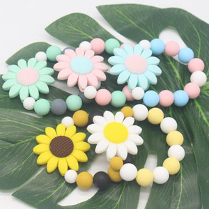 Flower baby teether Silicone Ring Teethers Infant Fingers Exercise Toys Colorful Silicon Beaded Soother Nursing toy Teether Chewable