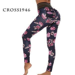 Cross1946 Floral Impresso Yoga Pants Sports aptidão que funciona push Leggings alta cintura para cima Sportwear respirável calças com bolso
