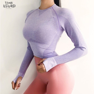 Seamless Cropped Top Long Sleeve Shirts Women Gradient Sports Bra With Thumb Hole Running Fitness Short Workout Gym Clothes