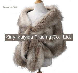 Imitation fur Cloak wedding lapel big shawl soft fox fur cloak matching dress wedding dress banquet winter warm women Black and White