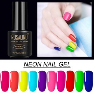 Rosalind nails 7ml Neon Gel Varnish Hybrid Bright For Nail Art Semi Permanent UV Lamp Base Primer Gel Varnishes Nail Polish