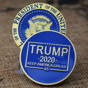 US Stock TRUMP Commemorative Coins for Presidential Election Zinc Alloy Metal Enamel Pin Unisex Brooches Collectible Gift Coins Memorabilia