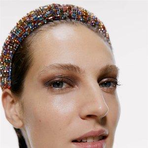 Vintage stile del palazzo di spessore spugna Hairbands diamanti di colore di lusso fasce delle donne di fascia di modo squisito dei capelli delle donne Wedding Party Headwear