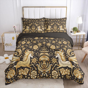 3D Design Black Gold Horse Duvet Cover Set Pillow Shams Quilt Covers Case Bedding Set Single Double King Size Home Textile
