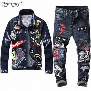 2020 2020 осень мужские джинсы Наборы красоты знак Краска Джинсовая куртка + вышивка Капитана Знак Строчка Натяжные Джинс Мужской набор Px7H #