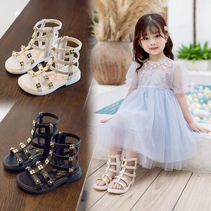 2020 and shoes and boots children's sandals Korean style girls high-top long high-tube Roman shoes boots rivet hollow fashion sandals