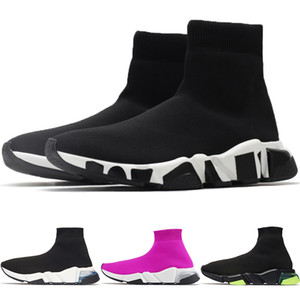 Pattini correnti degli uomini Sole velocità di alta qualità Trainer Cancella Stretch Knit media Donne Sneakers Retro Fashion Nero Beige Parigi Calze Scarpe NO BOX