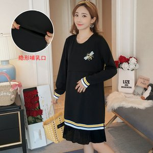 7101# 2020 Autumn Casual Black Maternity Nursing Dress Lacation Mother Breastfeeding Clothes for Pregnant Women Pregnancy