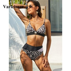 2020 Sexy Splicing Bikini High Waist Swimsuit Women Swimwear Two-pieces Bikini set Leopard Bather Bathing Suit Swim Wear V1739
