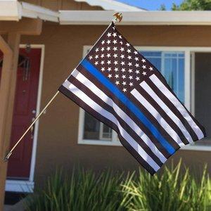 Americano Negro Policía 90cmx150cm EE.UU. Thin Blue Line Bandera agente de la autoridad blanco y azul con la bandera de latón Ojal LJJP115