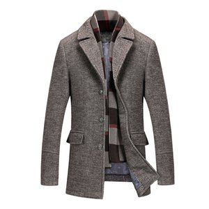 Tasarımcı Erkekler Yün Hendek Coats Sonbahar Kış 2020 Yeni Kalın Yaka Eşarp Erkek Orta uzunlukta Paltolar İngiliz Stil Ceketler Plus Size 4XL