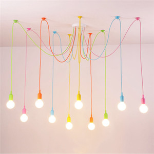 Modern Pendant Lights 13 Colors DIY Lighting Multi-color Silicone E27 Bulb Holder Lamps Home Decoration 4-12 Arms Fabric Cable