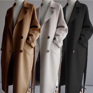 High-end woolen coat 2020 autumn and winter new Korean version of the long knee-length double-sided cashmere woolen coat women's tide