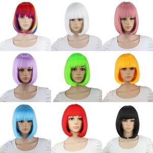 10inch sintetico Lisci Corti Bob parrucche Bangs Blu Oro Rosso Nero Rosa Bianco Viola Verde Marrone Cosplay Femminile