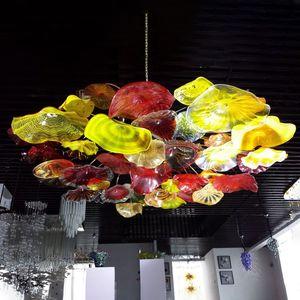 Verre lumières lustre soufflé Diamètre 60 pouces américain Hanging Pendant Light LED décoratifs personnalisés Plaques en verre de Murano Lustre-L