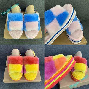 Mulheres Pantoufle Slipper Designer Furry Chinelos Fur g Checker Disco do arco-íris Slide Slides Platform Sliders Sandals Hausschuhe Grosso inferior