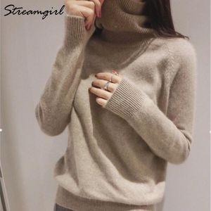 Streamgirl Winter-Kaschmir-Pullover Frauen Pullover und Pullover Schwarz Rollkragen Frauen-Kaschmir-Pullover warm dicke Pullover weiblich