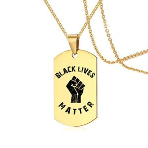 new protest black lives matter stainless steel necklace for women men fashion caeved english letters dog tag pendant necklace jewelry gift