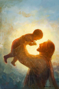Yongsung Kim Jesus Joyfully Holding Child Over His Head Home Decor Handpainted &HD Print Oil Paintings On Canvas Wall Art Pictures A133