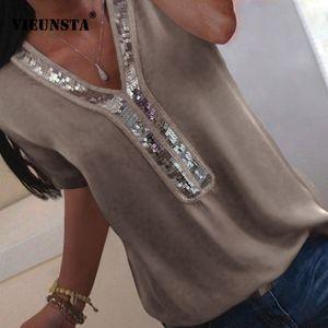 VIEUNSTA Women S-5XL Sequins V-neck Chiffon Blouse 2019 Summer Short Sleeve Office Lady Blouses Tops Plus Size Femme Shirt Blusa Y200622