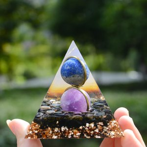 Amethyst Sphere And Lapis Lazuli Sphere With Obsidian Crystal Orgone Pyramid, Embraced By Copper Circle Chakra Reiki Meditation Pyramid