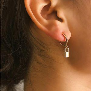 Spring Stylish Lock Pattern Women Studs Fashion Personality Charm Lady Pendant Earrings Outdoor Street Style Female Earring Jewelry