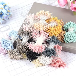 Marchwind 400Pcs lot 7cm Stamen Pistil Matte Double Heads Artificial Flowers for Wedding Decoration Cards Cakes Fake Flowers Accessories
