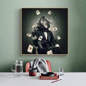 Rauchender Affe Leinwand Gemälde an der Wand Kühle Tiere Ape Spielkarten Poster und Drucke Wandbilder für Hauptdekoration