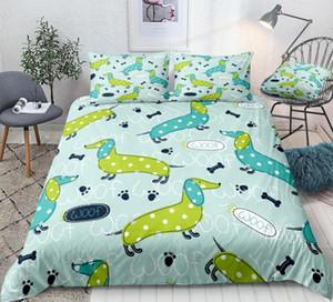 Teckel housse de couette, Bleu, Vert Chien de saucisse Literie pour Enfants Garçons Filles Quilt Cartoon Dog Cover Queen Bed Set Dropship de