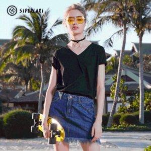 2020 Printemps Eté Femmes Coton T-shirt noir col V à manches courtes Femme Tee Slim Blanc TShirts Casual solides Tops Lady T-shirts