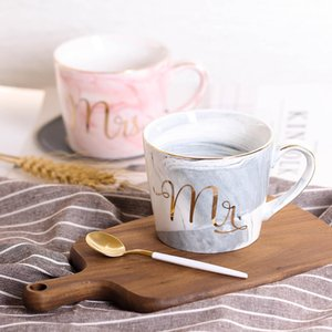 380ml Marble Ceramic Mug Travel Coffee Mug Milk Tea Cups Creative Mr and Mrs Mugs Pink Gold Inlay Breakfast Home Decor T200506