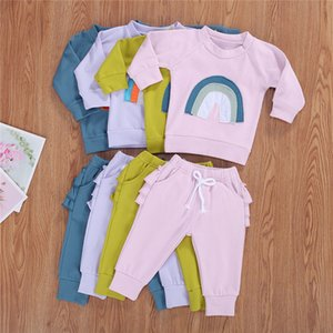Baby Autumn Clothing Newborn Baby Boys Girls Long Sleeve Cute Rainbow Splice T-shirt Long Pants Newborn Infant Set Free Shipping