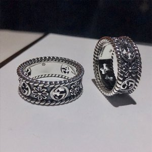 Ancient 925 sterling silver flowers hollowed-out double G men's and women's rings retro fashion couples ring wholesale