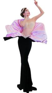 Robe brillante strass noir longue femme élégante soirée costume de bal Celebrate Big Tail robes femmes Party Outfit