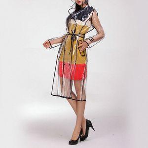 Women Transparent EVA Waterproof Raincoats With Belt Clear Runway Long Hooded Windbreaker Knee-length Outdoors Rainwear PtbZ#