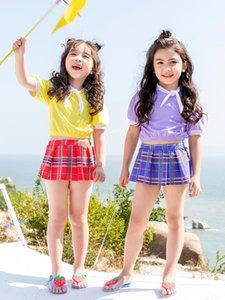 2020 nouvelle scission eau jupe écossaise Armée de style de fille couleur unie maillot de bain maillot de bain jupe écossaise mignonne conservatrice pour les enfants