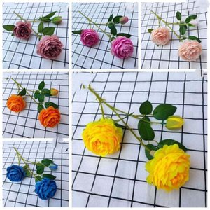 Seidenblumen künstliche Rose Blumen Real Touch Pfingstrosen Dekorative Partei Blumen gefälschte Hochzeit Braut Bouquet Weihnachtsdekor AHF524