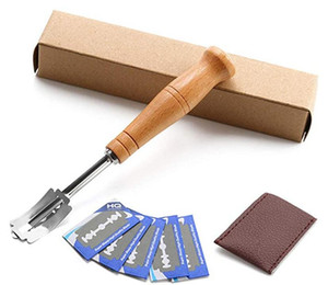 Bread Lame Set Premium Hand Crafted Bread Lame Included 5 Blades and Leather Protective Cover - Best Dough Scoring Tool DHA405
