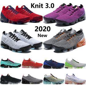 Yeni varış donanma altın nike vapormax flyknit 3.0 koşu ayakkabıları erkeklerin kadınları Parlak Mango Saf Platin açık krem üçlü siyah beyaz erkek eğitmenler uçmak
