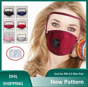 Erwachsene Gesichtsmaske mit abnehmbarem Schild Cotton Gesichtsmasken mit Atemventil PM2.5 Mundmaske Anti-Staub wiederverwendbarer Stoffmaske LJJA1822