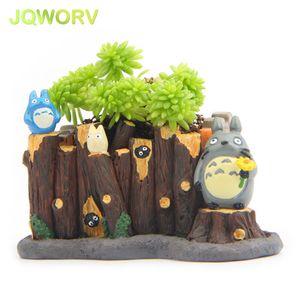 JQWORV Modern Cartoon Succulent Planter Pot Resin Creative Crafts Cute Totoro Flower Pot Home Decorations Vase mini Garden pots Y200709