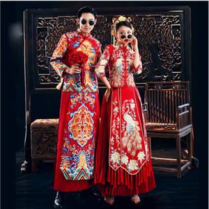 Traje Dragón Tang vestido de novia vestido de china antigua del padrino de boda tradicional china Hombres Esposo tostadas Robe