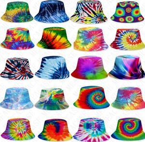 25 стилей 3D цвета ведро галстук-краситель шляпы шапки унисекс градиент плоской верхней Sunhat моды открытый хип-хоп кепки взрослых детей пляж солнце шлемы D71502