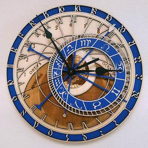 Prague Astronomical Wooden Large Wall Clock Home Decor Quartz Vintage Clock 12 Size Silence Living Room Decorative Hanging Watch