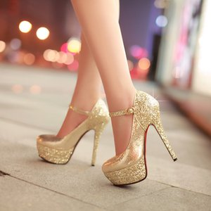 2019 New Ladies High-heeled Wedding Shoes Platform Fashion Glitter Nightclub Women's Party Pumps Red Bottom Super High Heels T200714