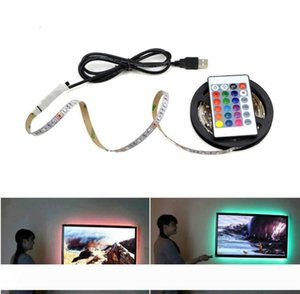 USB Powered 5V RGB LED Strip ışık 60leds Uzaktan Kumanda ile TV Arkaplan Lighting 3528 SMD Olmayan Su geçirmez Şerit m