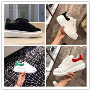 New Hot Classic Casual Shoes Men Women Fashion Top Quality White Leather Low Top Sports Sneakers Velvet Glitter Flat Shoes 35-46 With Box