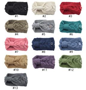 Twist Bow Headwrap Bandeau Crochet pour les femmes avec bouton laine tricot hairband filles oreille hiver chaud Accessoires cheveux