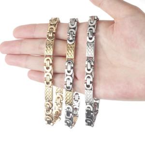 Хип-хоп Золото Серебро Цвет византийские цепи браслет из нержавеющей стали браслетов для мужчин Мальчиков Punk ювелирных изделий